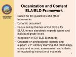 organization and content ela eld framework