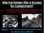 was the korean war a success for containment