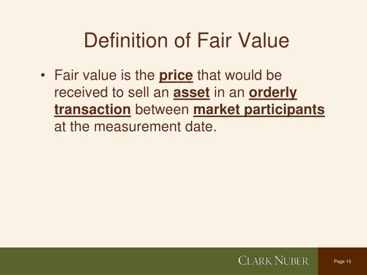 Definition of Fair Value