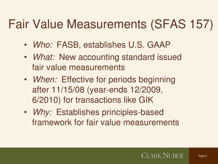 Fair value measurements sfas 157