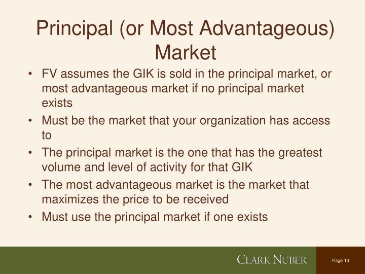 Principal (or Most Advantageous) Market
