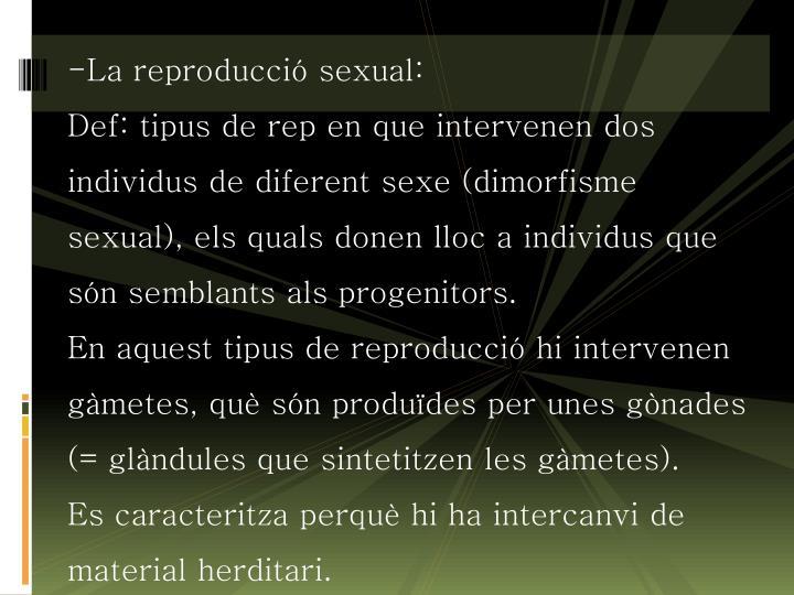 La reproducció sexual: