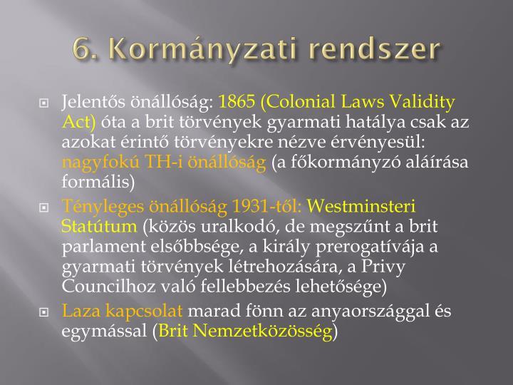 6. Kormányzati rendszer