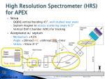 high resolution spectrometer hrs for apex