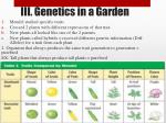 iii genetics in a garden
