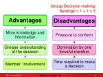 group decision making synergy 1 1 3