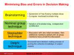 minimising bias and errors in decision making