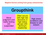 negative factors arising from group cohesiveness