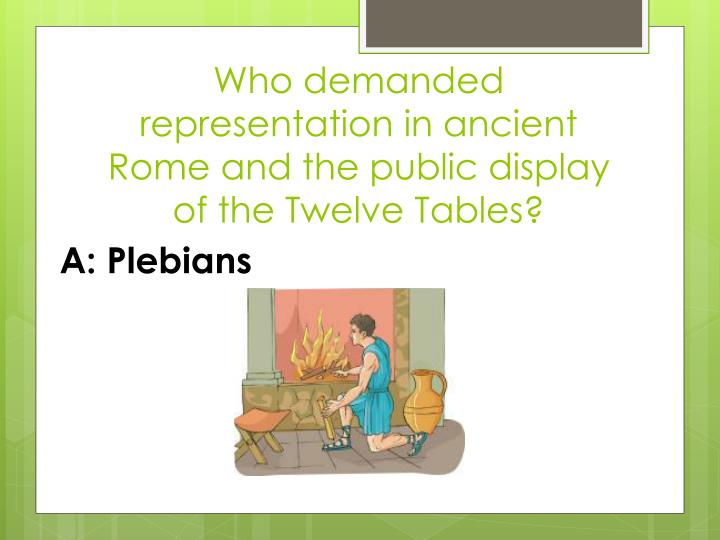 Who demanded representation in ancient Rome and the public display of the Twelve Tables?