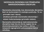 nacionalna ekonomija kao primenjena makroekonomska disciplina