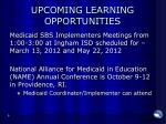 upcoming learning opportunities