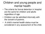 children and young people and mental health