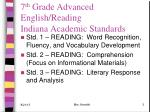 7 th grade advanced english reading indiana academic standards