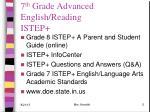 7 th grade advanced english reading istep