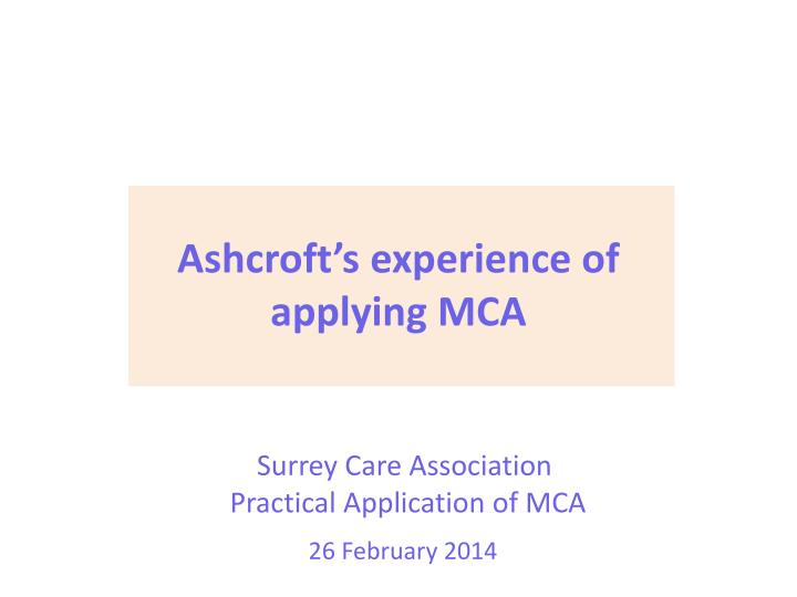 surrey care association practical application of mca n.