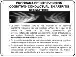 programa de intervencion cognitivo conductual en artritis reumatoide