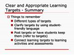 clear and appropriate learning targets summary