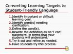 converting learning targets to student friendly language