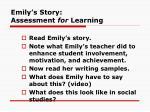 emily s story assessment for learning