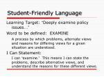 student friendly language3