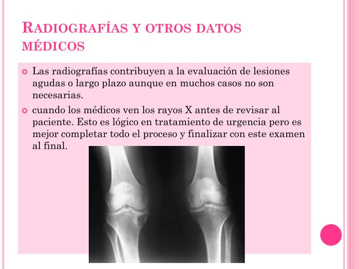 Radiografías y otros datos médicos