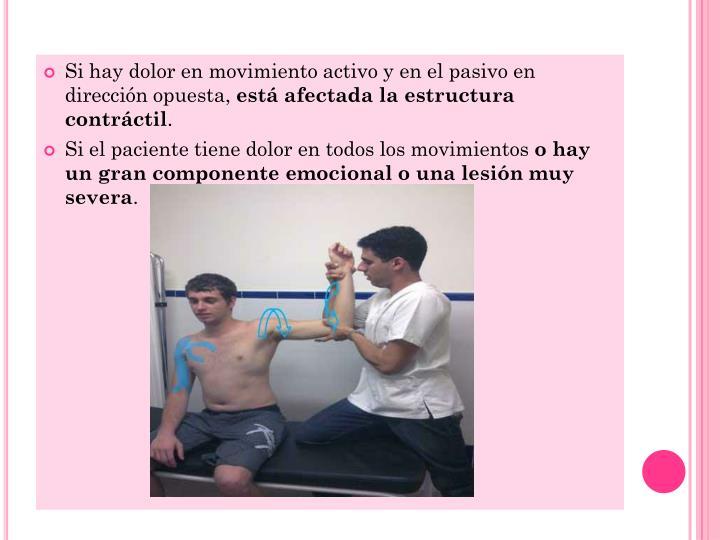 Si hay dolor en movimiento activo y en el pasivo en dirección opuesta,