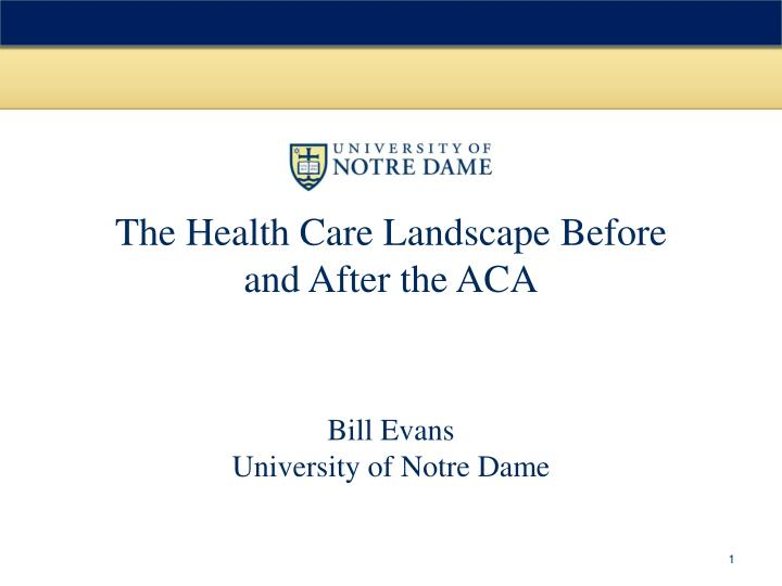 the health care landscape before and after the aca n.