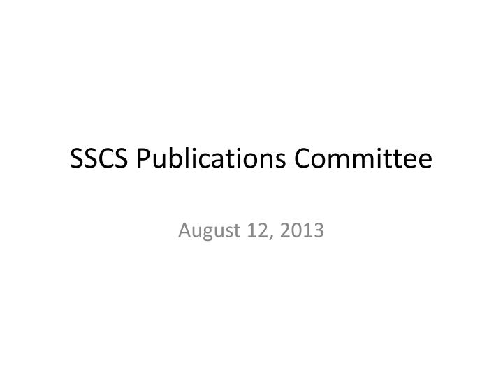 sscs publications committee n.