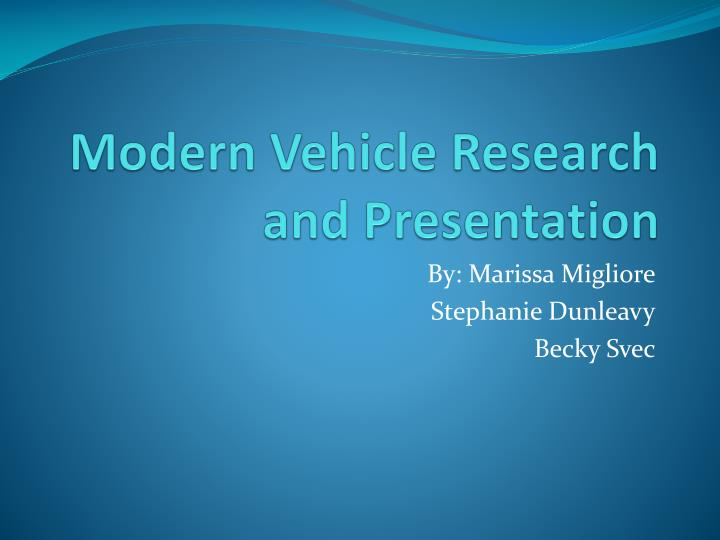 modern vehicle research and presentation n.