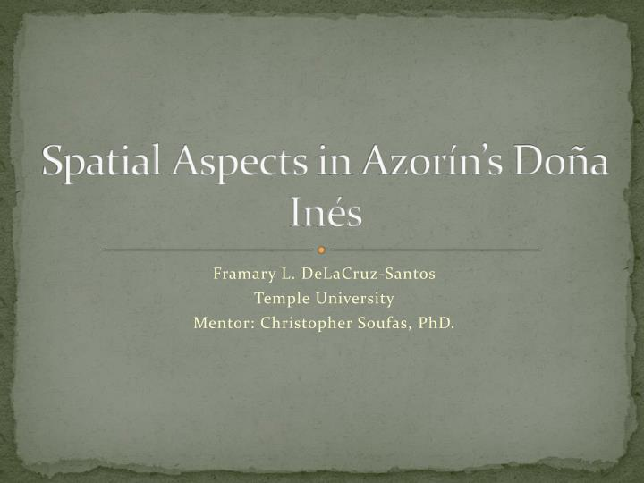 spatial aspects in azor n s do a in s n.