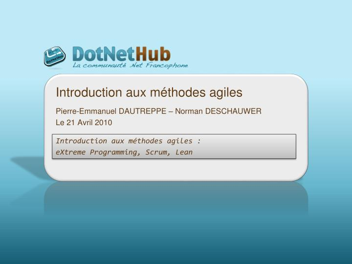 introduction aux m thodes agiles n.