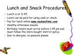 lunch and snack procedures