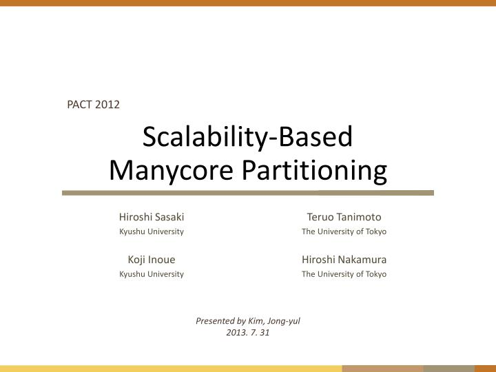 scalability based manycore partitioning n.