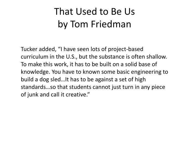 that used to be us by tom friedman n.
