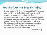 board of animal health policy