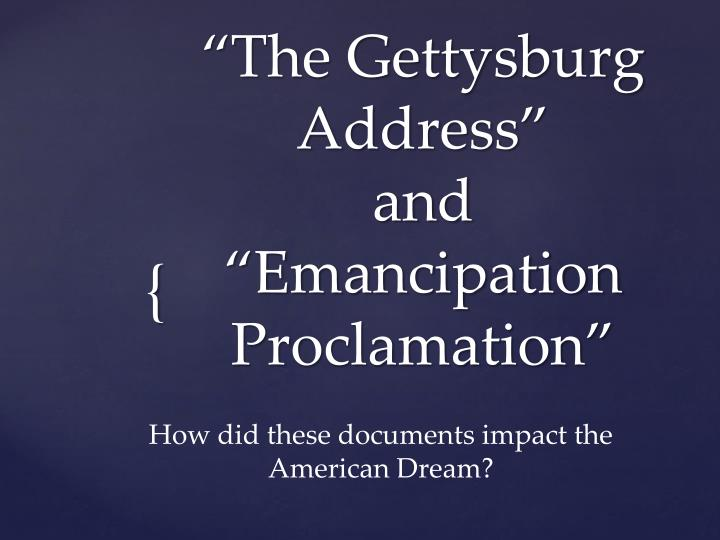 the gettysburg address and emancipation proclamation n.