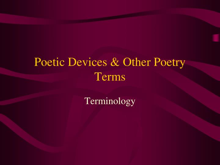poetic devices other poetry terms n.