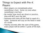 things to expect with pre k players
