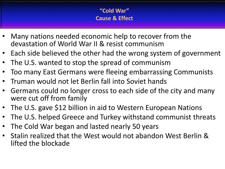 cold war cause effect n.