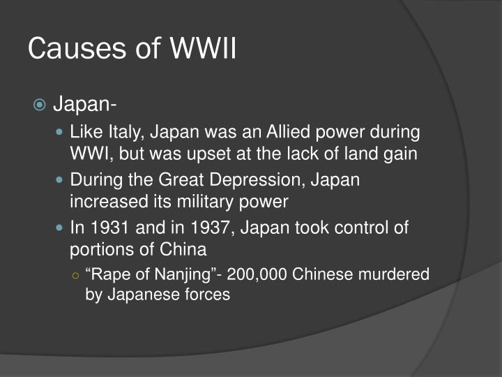 causes of wwii Start studying causes of world war ii learn vocabulary, terms, and more with flashcards, games, and other study tools.
