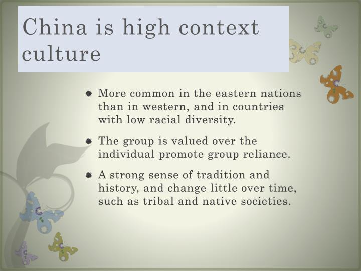 China is high context culture