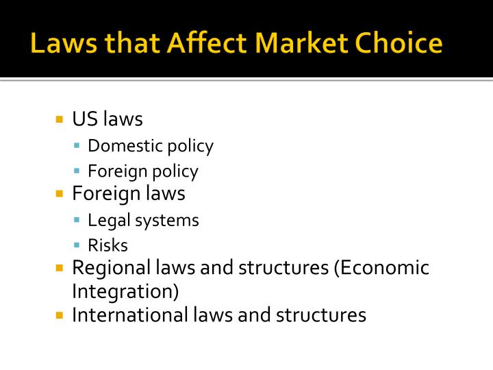 laws that affect market choice n.