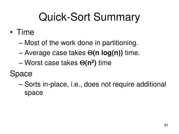Quick-Sort Summary