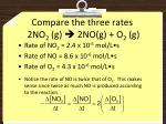 compare the three rates 2no 2 g 2no g o 2 g