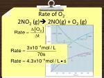 rate of o 2 2no 2 g 2no g o 2 g