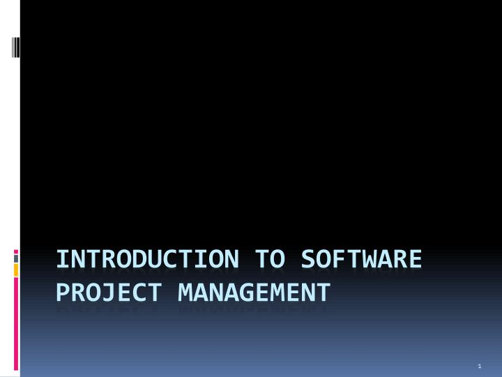 introduction to software project management n.