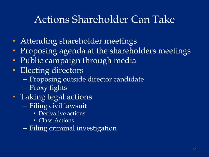Actions Shareholder Can Take
