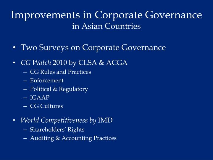 Improvements in Corporate Governance