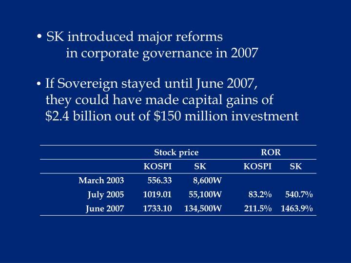 SK introduced major reforms