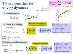 three approaches for solving dynamics